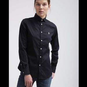 NWT Ralph Lauren black button down blouse